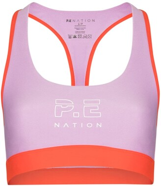 P.E Nation Outfield logo print sports bra