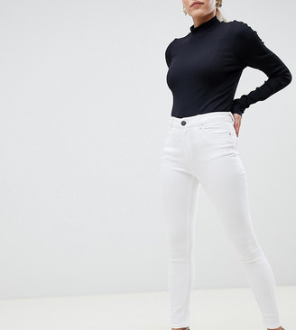 ASOS DESIGN Petite high rise ridley 'skinny' jeans in optic white