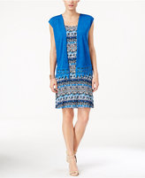 NY Collection Petite Printed Swing Dress and Lace-Trim Cardigan