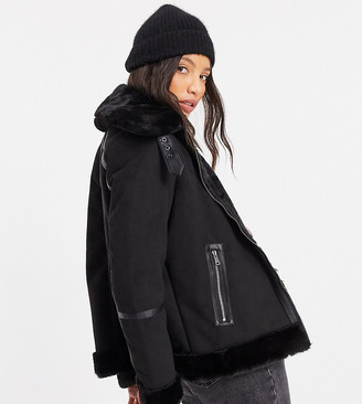 Only Tall aviator coat with faux fur collar in black