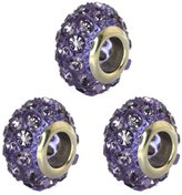 Gem Stone King Set of Three 14mm Round Pave Crystal Ball Fits with Beads and Charms
