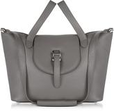 Meli-Melo Elephant Grey Leather Thela Medium Tote Bag