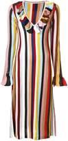 Marco De Vincenzo striped ruffle trim dress