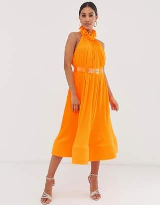 Asos Design DESIGN halter pleated ruffle neck midi dress-Multi