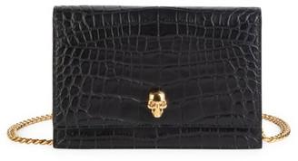 Alexander McQueen Mini Skull Croc-Embossed Leather Crossbody Bag