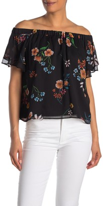 Rachel Roy Floral Off-the-Shoulder Flutter Chiffon Top
