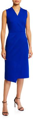 T Tahari Faux Wrap Sleeveless Dress