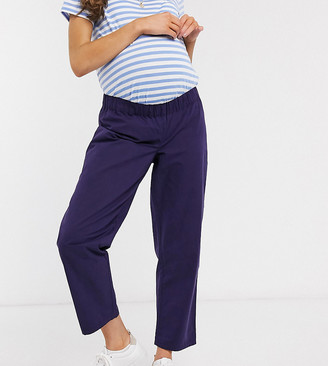 ASOS DESIGN Maternity clean pull on pant in navy moleskin
