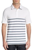 Saks Fifth Avenue BLACK Striped Pima Cotton Pique Polo