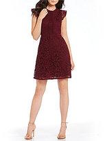 Blu Pepper Lace Flutter Sleeve Sheath Dress