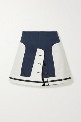 Monse Layered Paneled Cotton-blend Mini Skirt - Midnight blue