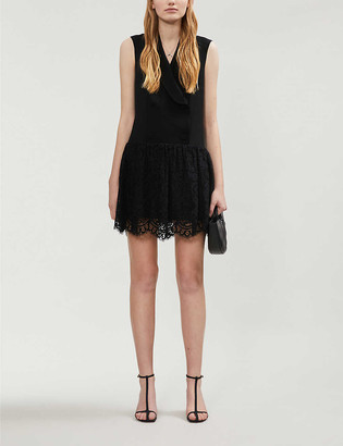 Claudie Pierlot Retro crepe and lace mini dress