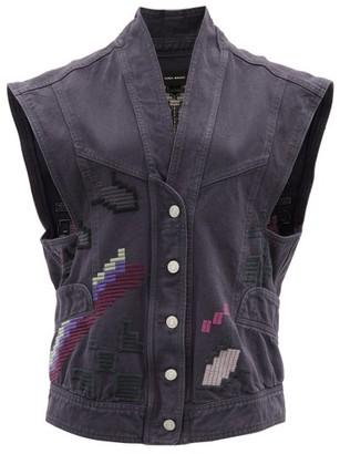 Isabel Marant Erilane Embroidered Denim Sleeveless Jacket - Womens - Black