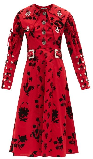 Thumbnail for your product : Chopova Lowena Floral-print Organic Cotton-poplin Midi Dress - Red
