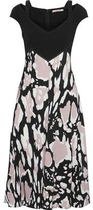 Roberto Cavalli Cutout Printed Stretch-crepe Dress