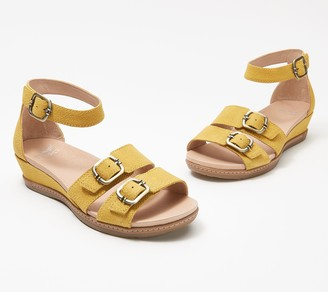 Dansko Leather Buckle Wedge Sandals - Astrid
