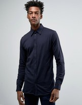 Weekday Japser Long Sleeve Jersey Shirt Top in Navy
