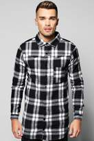 Boohoo Long Sleeve Buffalo Longline Check Shirt