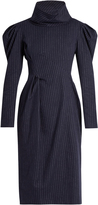 Awake Funnel-neck pinstriped brushed-cotton dress