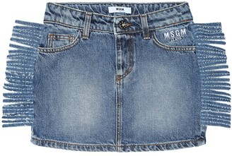 MSGM Kids Fringed denim skirt