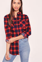 Missguided Brushed Checked Shirt Red