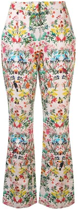 Monique Lhuillier Floral Bootcut Trousers
