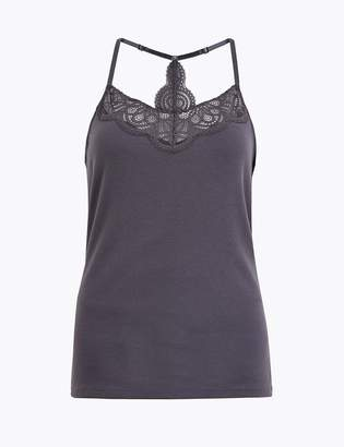 Marks and Spencer Cotton Rich Ribbed Lace Trim Vest