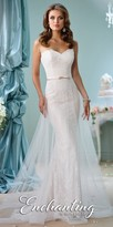 Mon Cheri Enchanting Strapless Bow Belted Wedding Gown