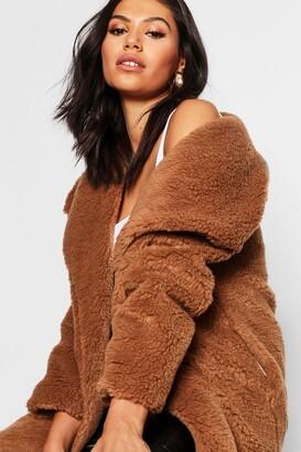 boohoo Shawl Collar Teddy Faux Fur Jacket