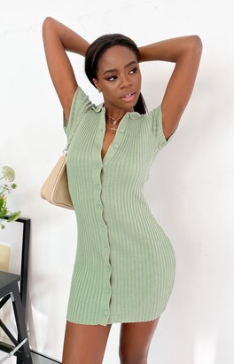 Beginning Boutique Busy Button Up Rib Dress Sage