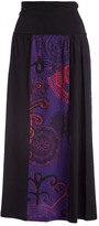Aller Simplement Black & Purple Abstract Front-Panel Midi Skirt