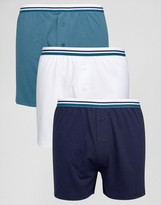 Asos Jersey Boxers With Blue Stripe Waistband 3 Pack
