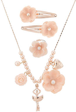 Monsoon Pearly Flower Necklace, Hair Clip & Ring Set