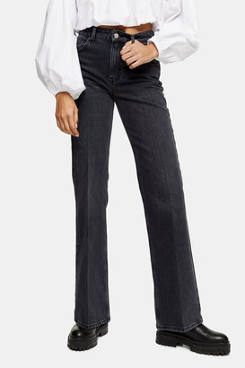 Topshop Womens Washed Black Relaxed Flare Jeans - Washed Black
