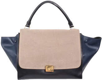 Celine Beige/Black Suede And Leather Trapeze Tote Bag