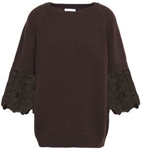 See by Chloe Guipure Lace-paneled Cotton Sweater