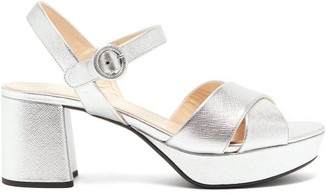 Prada Metallic Saffiano-leather Platform Sandals - Silver