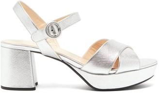 Prada Metallic Saffiano-leather Platform Sandals - Womens - Silver