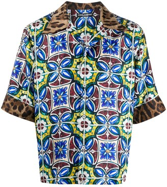 Dolce & Gabbana maiolica-pattern leopard-print Hawaii shirt