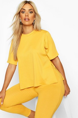 boohoo Plus Oversized Side Split Jumbo Rib Tee