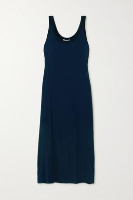 The Row Nette Two-tone Silk-blend Maxi Dress - Navy