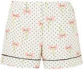 Miu Miu Printed Silk Crepe De Chine Shorts - Ivory