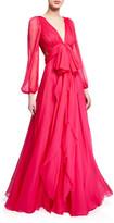Alexander McQueen Deep-V Bowed Silk Chiffon Gown