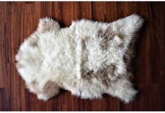"Burchett Animal Print Handmade 2'1"" x 2'8"" Sheepskin Cream/Brown Indoor / Outdoor Area Rug Millwood Pines"
