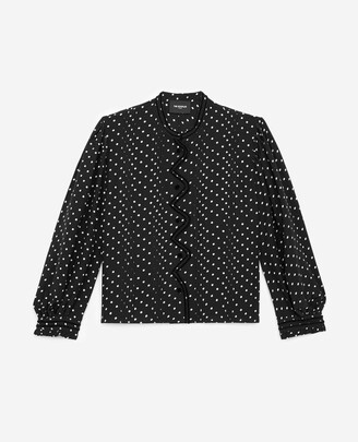 The Kooples Flowing fabric black top w/white polka dots