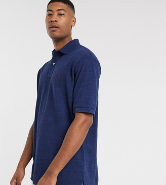 Polo Ralph Lauren Ralph Lauren Big & Tall classic fit player logo basic mesh polo in monroe blue heather