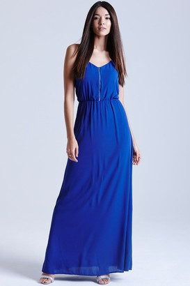 Girls On Film Blue Chiffon Maxi Dress