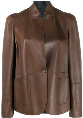 Brunello Cucinelli standing collar leather jacket