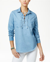 Polly & Esther Juniors' Lace-Up Denim Shirt