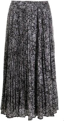 MICHAEL Michael Kors Pleated Floral Print Midi Skirt